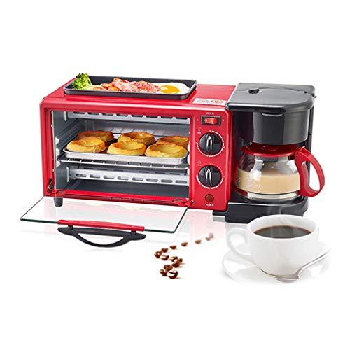 ZTGL Elektrische Haushaltsfrühstücksmaschine, 600 ml Kaffeemaschine, Antihaft Grillplatte, 9 Liter Toaster mit Hoher Kapazität und 30-Minuten Timer, Rot