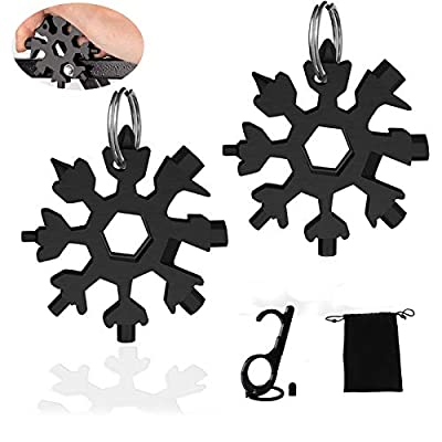 [2 Pack]Snowflake Multitool,Ivienx [18-in-1]Snowflake Wrench Tool Screwdriver Set[Stainless Steel][Compact][Portable][Outdoor]Keychain Bottle Opener for Outdoor Travel Camping Adventure Daily Tool