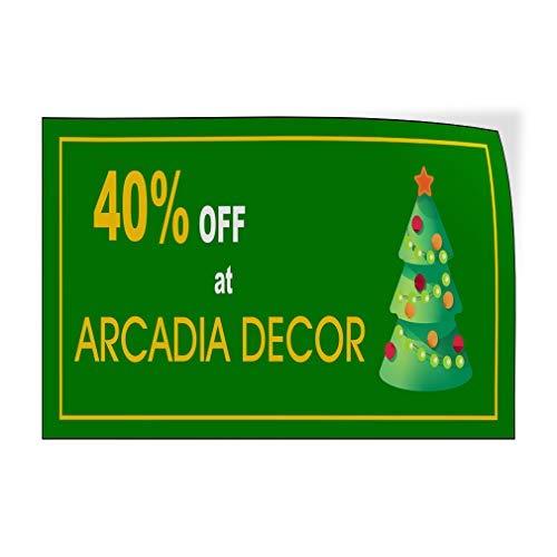 qidushop Percentage Off Arcadia Decor Green Custom Deur Decals Vinyl Stickers Business Groen 20 x 30 Metalen Decor Metalen Tin Tekens Outdoor Gebaren Verjaardagscadeau Grappig Teken Muur Art Decoratieve