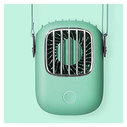 Cuello Colgante Portátil Pequeño Llevar USB Tipo Recargable Cuello Colgante Mini Ventilador Eléctrico Ventilador Eléctrico para Niños (Color : Green)