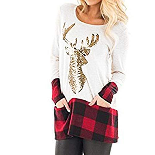 YANFANG Blusa para Mujer túnica Linda de Manga Larga Talla Grande Suelta con Dobladillo de Empalme a Cuadros de Navidad Blusa Tops pulóver a la Moda Sweatshirt Invierno