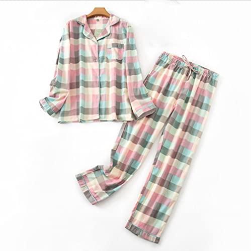 UKKO Pijama Pijamas De Mujer Talla Grande S-XXXL Ropa De Ladras Franela De Algodón De Algodón Traje De Desgaste del Hogar Otoño Invierno Pijamas Plaid Imprimir Tops del Sueño
