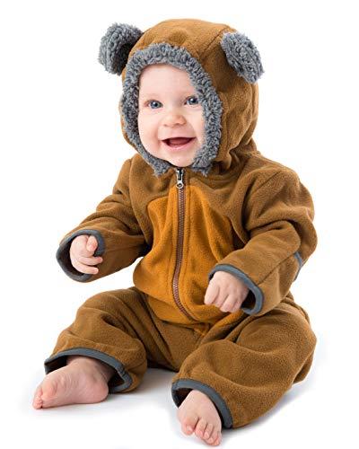 Cuddle Club Baby Erstausstattung aus Fleece Baby Body für Neugeborene bis 4 Jahren – Baby Strampler – Baby Kleidung/Kinder Pyjama Winterjacke – BearBrown/Tan2T