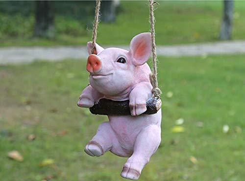 Amusing Pig Swinging Statue Figurine Indoor Outdoor Ornament Home Garden Decor (White Pig)