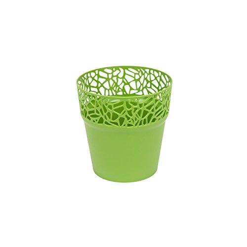 Rond cache-pot 12 cm NATURO plastique romantique style en olive