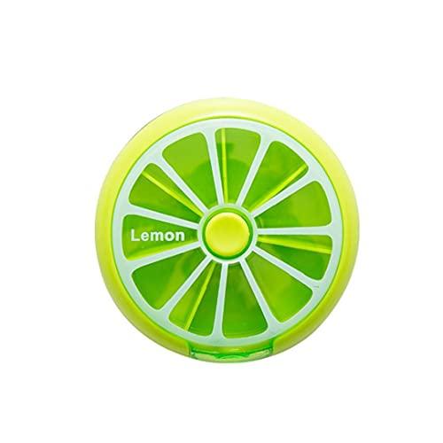 NIDONE 1 PZ Carina Fruit Round Medicine Box Portatile Rotante 7 Scomparto settimanale Organizer Organizer Viaggio Medicina Tablet Supporto per Tablet Pillole Contenitore (Verde)