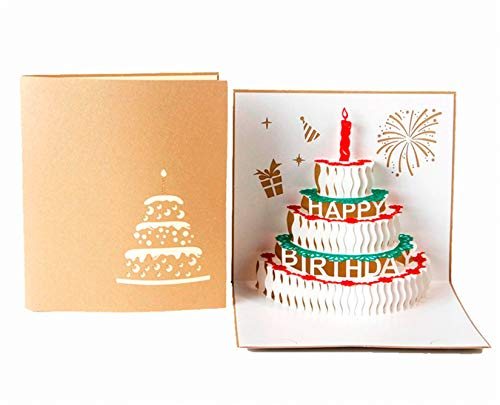 Pop Up Birthday Card,Creative 3D Birthday Cards Handmade Birthday Cake Cards Birthday Greeting Cards Happy Birthday Pop Up Cards Laser Cut Birthday Cards (2 Pack),Envelopes Included