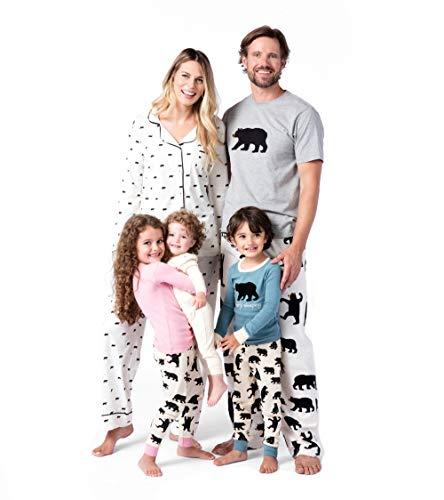 Hatley Little Blue House by Long Sleeve Appliqué Pyjama Sets Conjuntos de Pijama, Rosa (Pink Bearly Sleeping 650), 3 años (Talla del Fabricante: 3) para Niñas
