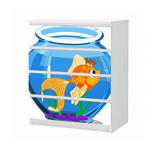 Set Möbelaufkleber für Ikea Kommode MALM 4 Fächer/Schubladen Kinderzimmer Cartoon Fisch Goldfisch Aquarium Wasser blau Aufkleber Möbelfolie sticker (Ohne Möbel) Folie 25B1716