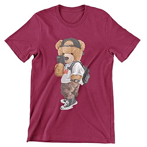 Selfie Teddy - Camiseta de manga corta unisex para verano, estilo informal, con clase, diseño gráfico de moda, cuello redondo, camiseta unisex, Vino, 46