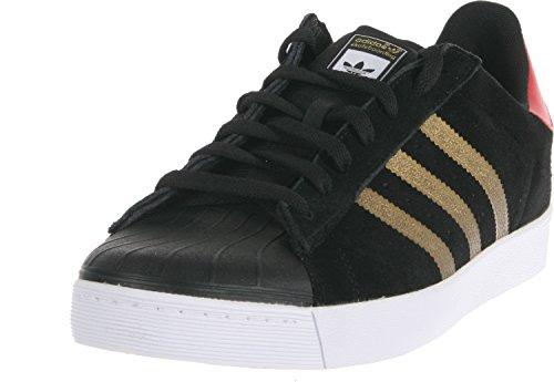 adidas Superstar Vulc ADV Black/Gold Metallic/Collegiate Red Skate Shoes-Men 11.5, Women 13
