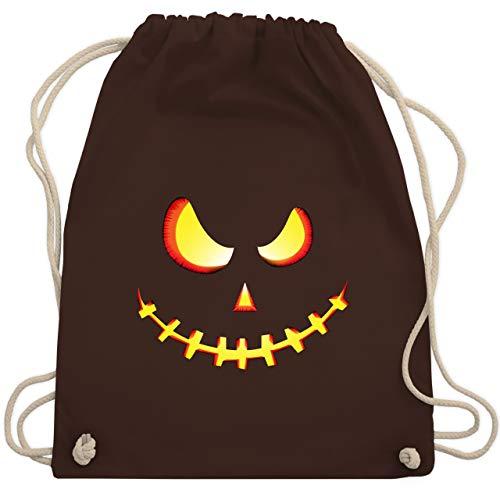Shirtracer Halloween - Gruseliges Kürbis-Gesicht - Unisize - Braun - Geschenk - WM110 - Turnbeutel und Stoffbeutel aus Baumwolle