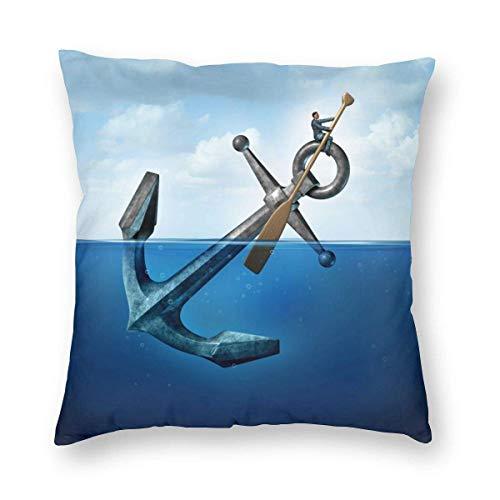 Funda de Almohada Impresa con diseño de Dos Lados, un Hombre Rema en un Ancla Flotante con una Paleta como una Funda de Almohada Cuadrada Delantera Funda de cojín para sofá sofá decoración del hogar
