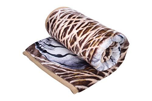 HAFIX Kuscheldecke Tagesdecke Wolldecke Überwurfdecke in 160x220cm Weißer Tiger, für wohlige Wärme auf dem Sofa & im Bett 100prozent Polyester