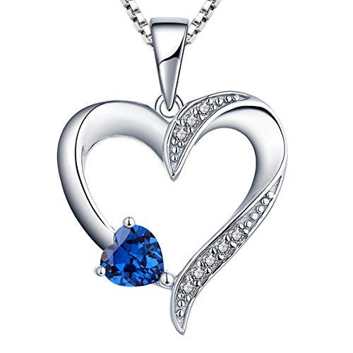 YL Halskette Damen Silber 925 Anhänger Herz mit 5MM * 5MM Herz Blauer Saphir/Zirkonia Kette für frauen und Mädchen, 45-48 CM