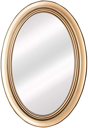 """Mirrors and More Wellsandra Antique Brass Framed Oval Non Bevel Bath Mirror  (3) D-Rings Hardware  21"""" x 31"""" Wall Mount Bathroom Kitchen Vanity Mirror  Vertical or Horizontal 2-Way Hanging System"""