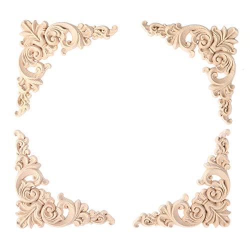 CLISPEED Cornice per Foto Decorazione in Legno Massello Applique Cornice Intaglio in Legno Angolo Decorazione Ornamenti 4 Pezzi