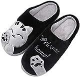 Mishansha Donna Caldo Peluche Inverno Pantofole Cartoon Pantofole da Casa Morbido Cotone Coppie Scarpe Antiscivolo Indoor Slippers, Cat-Nero, 39/40 EU=40/41 CN