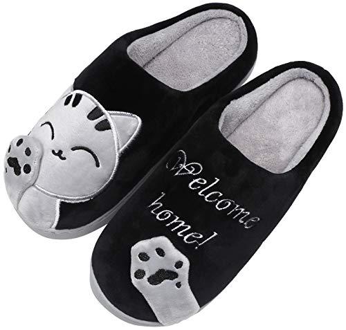 Mishansha Mujer Zapatillas de Casa Hombre Zapatillas de Estar de Invierno Cálido Felpa Dibujos Animados Gato Antideslizante Pantuflas, Cat-Negro, 41/42 EU=42/43 CN