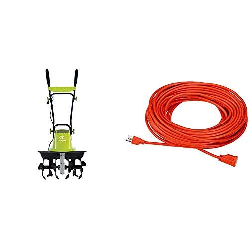 Sun Joe TJ604E 16Inch 135 AMP Electric Garden Tiller/CultivatorBlack amp AmazonBasics 16/3 Vinyl Outdoor Extension Cord | Orange 100Foot