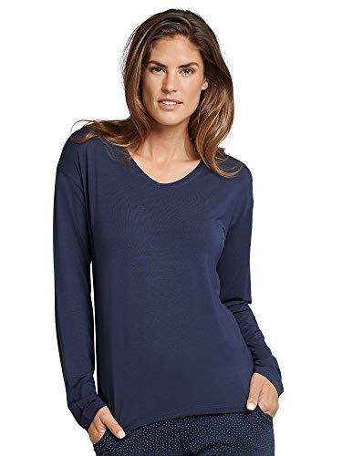 Schiesser Damen Mix & Relax Shirt 1/1 Arm Schlafanzugoberteil, Blau (Nachtblau 804), 38