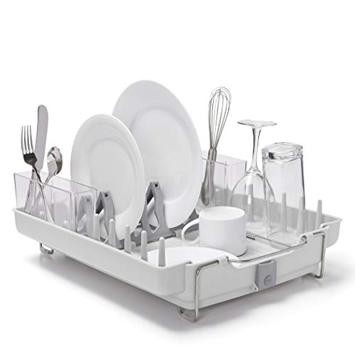 OXO Good Grips Convertible Foldaway Dish Rack, Stainless Steel,,DESIGN 1