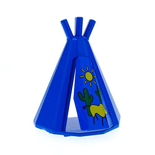 Bausteine gebraucht 1 x Lego Duplo Indianer Zelt blau mit Tür Tipi Wigwam Cowboy Indianer Dorf Wilder Westen 31179 31178