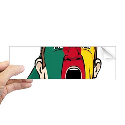DIYthinker Kameroen Vlag Gezichtsmasker Schreeuwende Cap Rechthoek Bumper Sticker Notebook Window Decal