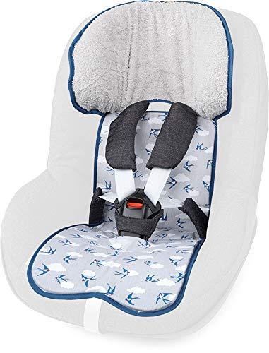 PRIEBES FELIX Sitzauflage für Autokindersitz Gruppe 1 | Universal Sitzeinlage für Kindersitze | Schonbezug 100% Baumwolle | waschbar & atmungsaktiv |beidseitig verwendbar, Design:Schwalben grau