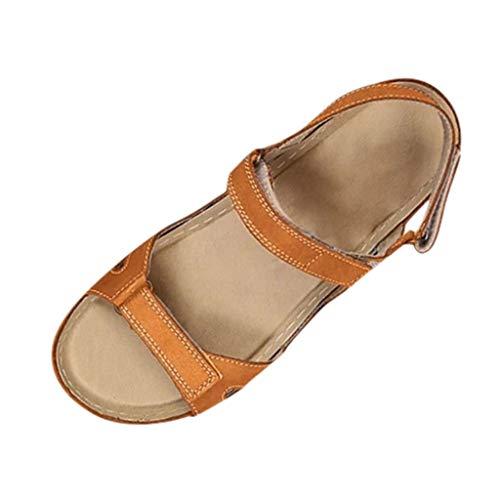 XOXSION Sandalias de verano para mujer, cómodas sandalias planas con cierre de velcro con puntera abierta, de piel sintética con cuñas, para uso al aire libre, color Marrón, talla 40 EU