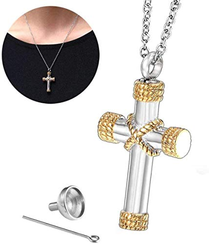 VVHN Collar Colgante de urna de Perro de Acero de Titanio 316, Cenizas de Mascota, joyería de cremación, Plata de Ley, Regalo de Recuerdo para Mujer, Longitud de Cadena (19 6 Pulgadas)