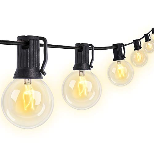 haelpu Outdoor Patio String Lights 50Ft, 50 Clear Waterproof IPX5 Bulbs 5 Spare Vintage Indoor Globe String Lights for Porch Backyard Deck Garden Wedding Parties UL Listed