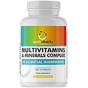 Multivitamins & Minerals - 240 Vegetarian Multivitamin Tablets | 30 Essential Active Vitamins & Minerals Inc Vitamin C, D, Zinc, Iron & More! | Multivitamin Tablets for Men and Women | Sash Vitality