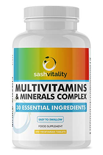 Multivitamins & Minerals - 240 Vegetarian Multivitamin Tablets | Multivitamin Tablets for Men and Women | 30 Essential Active Vitamins & Minerals| UK Made Sash Vitality