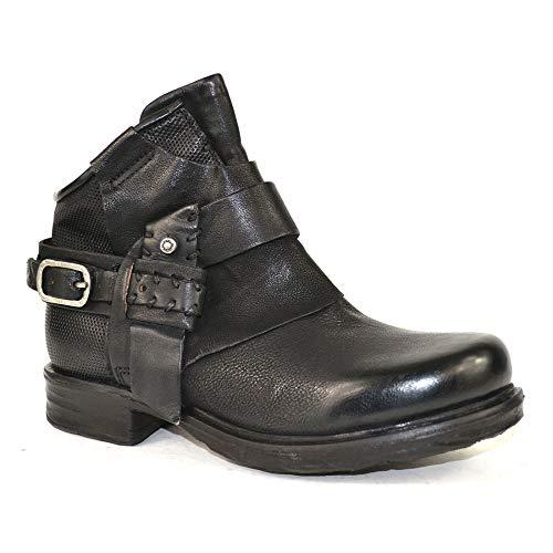 A.S.98 Airstep - Botas de piel para motorista, color negro, talla 35, color negro, color Negro, talla 35 EU