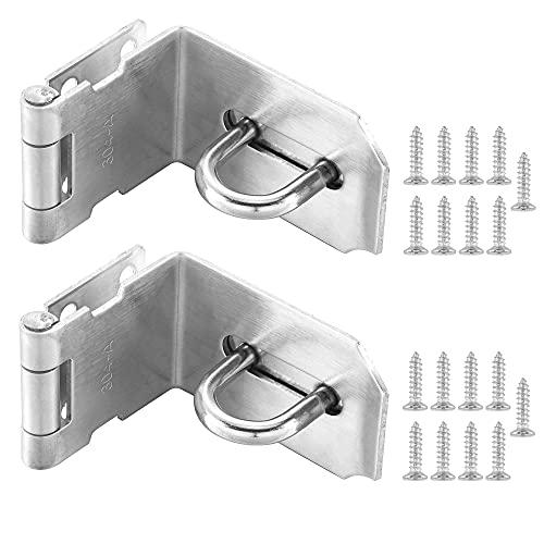 Tidorlou 2 Pack 90 Degree Padlock Hasp,Padlock Door Clasp Lock Hasp Latch, Stainless Steel Security Door Gate Locking Latch,Clasp Latch for Push/Sliding/Barn Door, 2mm Thick, Brushed (4 Inch, Silver)