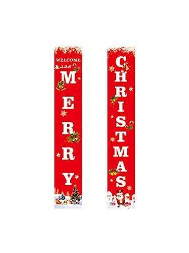 Lazyspace Cartel de porche de Navidad para colgar en la puerta, decoración...