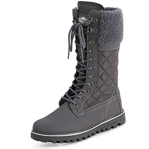 Polar Dames Nepbont Warm Thermisch Waterdicht Outdoor Wandelschoenen Sneeuw Winter Rubberzool Kalfslaarzen - Grijs/Grijs Shearling - UK4 / EU37 - YC0602