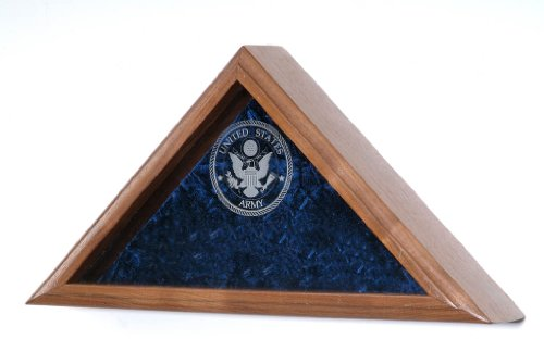 All American Gifts Engraved Military Service 3x5 Flag Display Case - (Army Engraved Emblem)