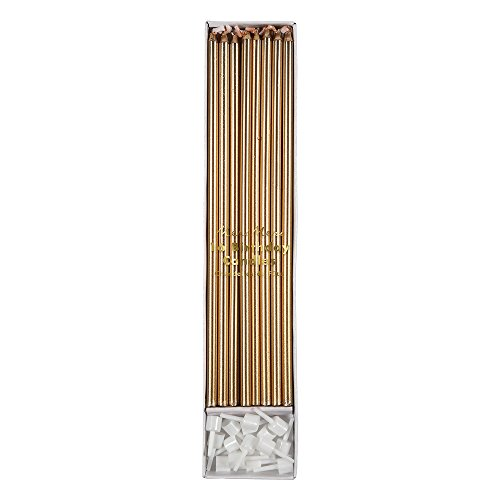 Meri Meri Gold Long Candles - Pack of 16 - Plastic Holders with Gold Foil Detail