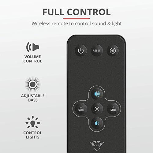 Trust GXT 629 Tytan 2.1 Lautsprecher Set (120W, mit Subwoofer und RGB LED-Beleuchtung, RGB-Farben) schwarz