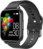 Reloj inteligente de 1 pantalla fina y ligera de 3 pulgadas, recordatorio de llamadas de larga duración, para Android y iOS, color negro