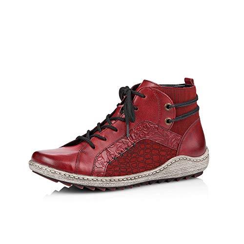 Remonte Damen Stiefeletten R1499, Frauen Schnürstiefelette, Boot halb-Stiefel schnür-Bootie Damen,mohn,40 EU / 6.5 UK
