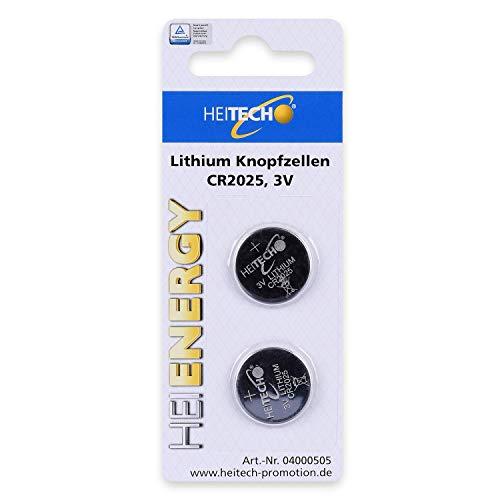 HEITECH 2er Pack CR2025 Lithium Knopfzellen Batterie TÜV geprüft - 3V Knopfbatterien auslaufsicher & mit Langer Haltbarkeit