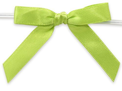 LIME GREEN 2 Pre-Tied Satin Bowswith 4-1/2 Twist Ties~ 3/8 ribbon 20 unit, per unit. by Nas