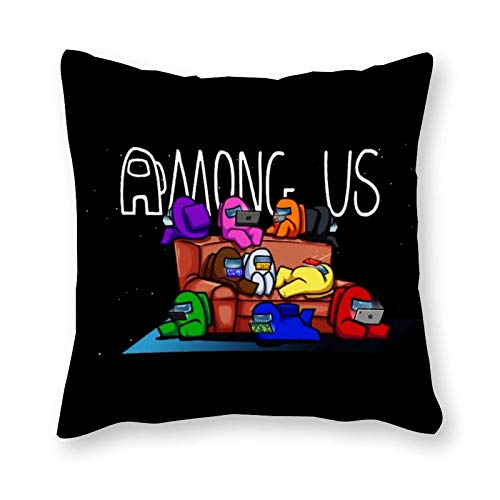 DJNGN Am-on-g Game US Fundas de Almohada 18x18 / 16x16 Pulgadas Funda de Almohada Cuadrada con Cremallera Personalizada