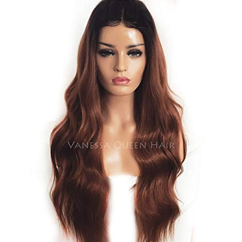 Maycaur Long Wavy Lace Front Wigs With Baby Hair Ombre Brown Body Wave Full Lace Human Hair Wig For Women 180 Density (20 inch, lace front)