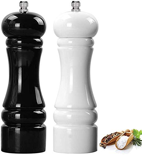 BOCHION Premium Salz- und PfefferMühle Set, Manuelle Salzmühle Holz, mit Verstellbarem KeramikMahlwerk, Refillable Gewürzmühle und Kräutermühle Groß, Salz und Pfeffer Streuer, (Schwarz- Weiß)