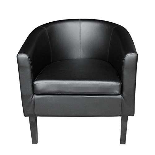 Panana Faux Leather Tub Chair Armchair club Chair Dining Living Room Cafe Padded Seat(Black)