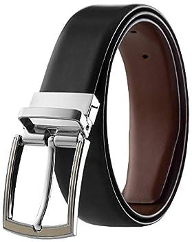 Men s Leather Reversible Belt Top Grain Italian Leather Classic Finish Black & Tan Size 38